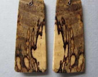Unique Spalted Hackberry Exotic Wood Dangle Earrings Handmade ExoticwoodJewelryAnd ecofriendly repurposed