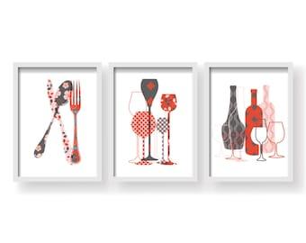 20% SALE - Red Pink Dark Grey Kitchen decor - Kitchen wall art - Kitchen print - Kitchen art - Kitchen art set - Kitchen poster - 3 SET