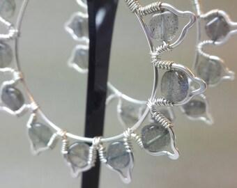 Lotus Petal Labradorite Hoop Earrings in Sterling Silver. Handmade in Bristol, UK.