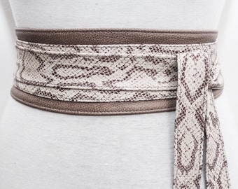 Taupe Snakeskin Leather Obi Belt | Waist Sash Belt | Leather tie belt | Corset Leather Belt| Plus Size Belt