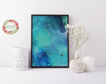 Zodiac star sign Pisces printable poster