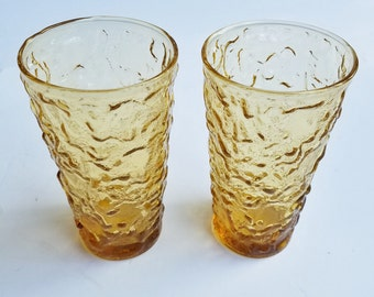 Pair of Vintage Anchor Hocking Milano Lido Honey Gold Amber 10 Oz. Tumbler