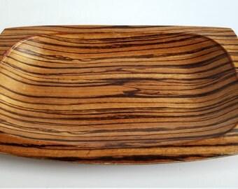 Weavewood Zebra Wood Look Rectangular Serving Tray