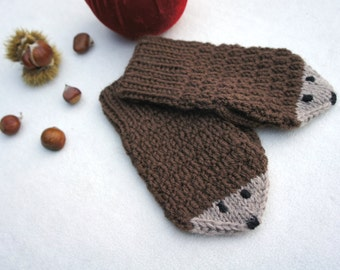 Wool mittens, Knit wool gloves, Winter baby mittens, brown mittens, Christmas gift