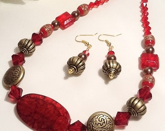 Red & Antique Gold Necklace with Matching Earrings Set