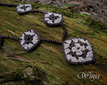 Crochet jewelry, crochet necklace, boho jewelry, woodland beads, crochet beads, knit jewelry, cotton necklace, cotton jewelry, brown beads
