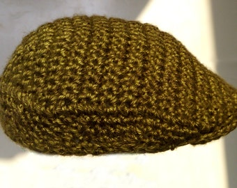 Flat Cap/Drivers Cap/Jeff Cap/Kangol Cap/Golf Cap - Crocheted in Heathered Green