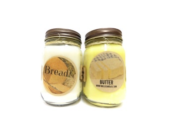 Combo - Bread and Butter Set of Two 16oz Soy Candles APX Burn Time 144 Hours Each