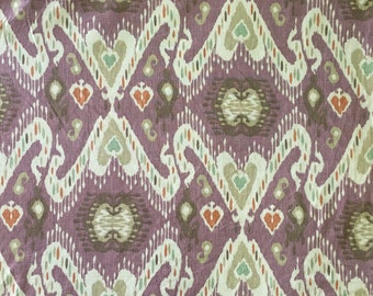 FABRIC FABRIC - Tribal Ikat - Purple - Teal - Burnt Orange  -Printed Fabric - Upholstery Fabric by the Yard