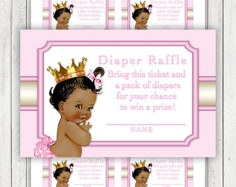 Ethnic Princess Diaper Raffle Ticket African American Princess Diaper Raffle Tickets Pink Gold Princess Diaper Raffle Tickets