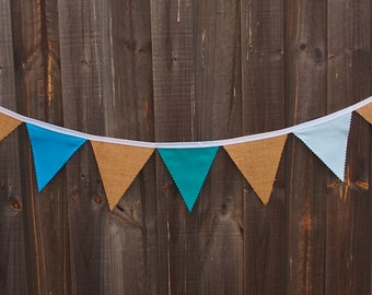 Rustic burlap and cotton bunting in shades of blue