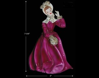 Florence Ceramics Hard to Find Clarissa Figure in Fancy Maroon (Deep Rose) Dress