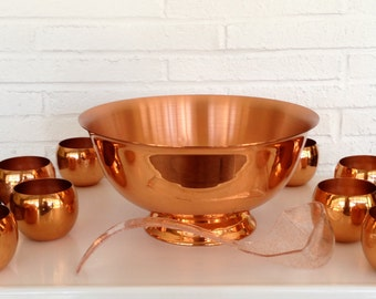 Copper Punch bowl and 8 cup set,copper cups,mugs,Coppercraft Guild,roly poly,Moscow mule,tumbler,barware,Entertaining,Wedding,