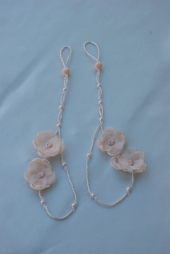 Blush floral beaded barefoot sandals; beach barefoot sandals;destination wedding beach sandals