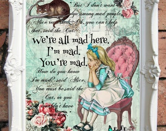 Alice in Wonderland Decor ALICE in Wonderland Quote Art Print Alice in Wonderland Nursery Wall Art Alice in Wonderland Nursery Decor  C:A37