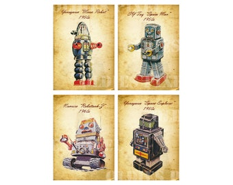 Sci Fi Robots Collection Digital Collage Sheet JPG PNG Images Instant Download Cards Tags Printout TC04