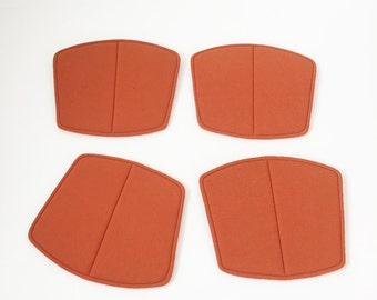 "4x seatpads vintage 60s Knoll International Harry Bertoia wire chair orange ""seatpads"" midcentury modern panton eames era"
