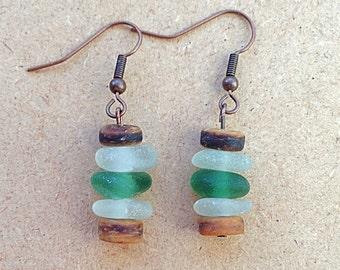 Genuine sea glass earrings, stacked seaglass earrings, sea glass bead earrings