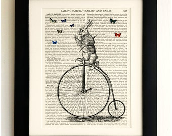 ART PRINT on old antique book page - White Rabbit on Penny Farthing, Alice, Vintage Wall Art Print, Encyclopaedia Dictionary Page, Fab Gift!