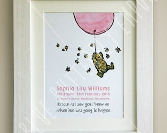 PERSONALISED Winnie the Pooh Christening Quote Print, New Baby, Nursery Picture Gift, Pooh Bear, *UNFRAMED* Beautiful Gift, Pink Balloon