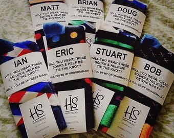 "Grooms Fabulous Custom Way to Ask your Guys to be your Groomsman! ""Will You Wear These Socks & Help Me Tie The Knot?"" Custom Sock Labels!"