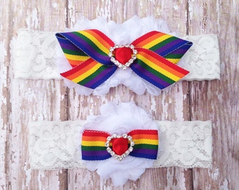 Rainbow Garter Set | Rainbow Wedding Garters | Bridal Garter and Toss Garter | Other Colors Available