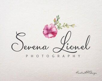 Watercolor flower logo, Photography logo, Handwritten watermark, Premade logo design, Watermark 255