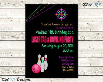 Pink, Laser Tag and / or Bowling Party,  Glow in the Dark Invitation Birthday Card, Digital File after customization, JPG or PDF, Printable