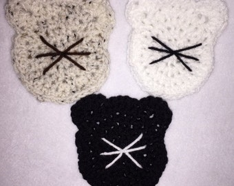 Crocheted Cat Coasters Set Of Four Of Your Choice
