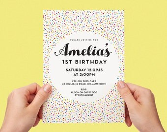 Sprinkles Kids Party Invite First birthday Baby Girl Invite Baby Boy Toddler Colourful 1st 2nd 3rd 4th 5th Printable Invite