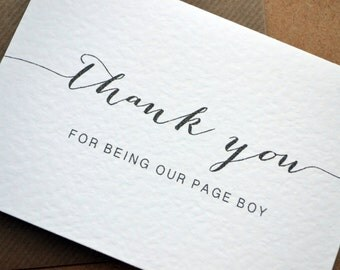 "Wedding Greetings Card - ""Thank you for being our Page Boy, Ring Bearer, Flower Girl"" Card with C6 Kraft Envelope - Calligraphy"
