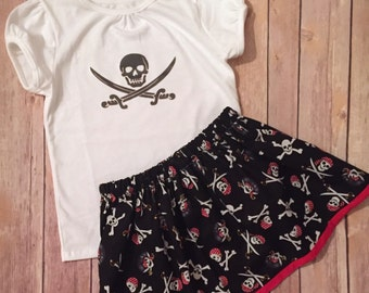 Girl's Pirate Outfit, Little Girl Pirate Dress, Pirate Skirt, Pirate Onesie, Child's Pirate Clothing, Baby Pirate Outfit