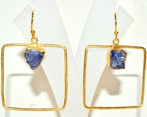 Iolite Raw Wired Square Drop Earrings, Handmade Natural Gemstone Brass Earrings, Designer Gold Plated Dangle Earrings