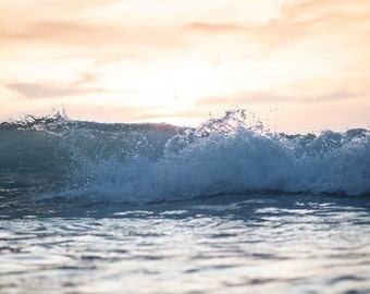 Tropical beach waves, Fine Art Photography, Wall Decor, Cabin Art,  Abstract Photography, Cabin Decor, Ocean Print, aqua pink