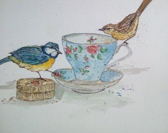 Tea, biscuits & birds. Original watercolour painting