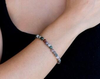 India Agate gemstone bracelet/india Agate Bracelet/Multi-colour stone bracelet