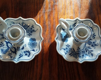 "Pair Blue Danube Square 5 1/2"" Candle Holders"