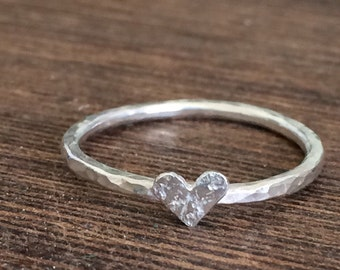 heart stacking ring, silver heart stackable ring, heart stacking band, thin stacking ring, heart stacker, delicate heart ring, valentines