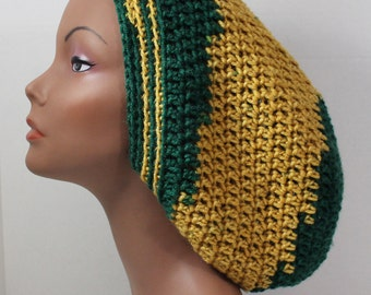 Women's Green Gold Green Bay Packers Inspired Dreads Tam Slouchy Beret Hat