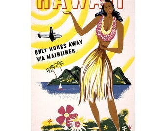 Hawaii Hula Girl Air Lines Travel Poster - 18x24 inch Vintage Hawaiian Tourism Print