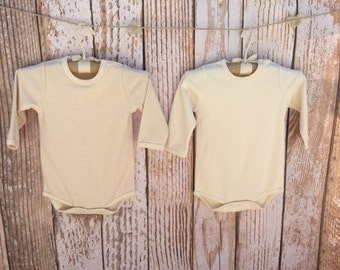 Organic Baby Bodysuits, Set of 2, Matching Bodysuits, Long Sleeve Bodysuits, Gift Set, 0-3M Months, Natural Colors!