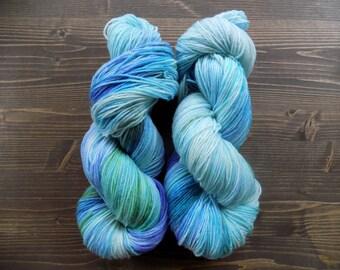 Hand Dyed Yarn, Hand Painted Yarn, MCN, Merino Cashmere Nylon, Blue Green