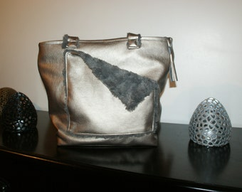 Bag-Tote double shiny beige leather faux fur