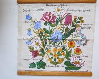 Vintage Printed Botanical Wall Decor Swedish Native Flowers of Sweden, Scandinavian Printed Cotton Small Wall Hanging #2-12