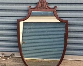 Vintage Shield Style Mahogany Mirror