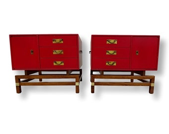 For Margaret- Pair Mid Century Modern Chests End Tables Hickory Furniture Mfg Co Asian-Inspired Walnut Side Tables Floating Base Nightstands