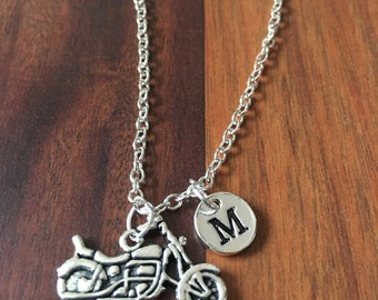 KIDS SIZE -Motorcycle initial necklace, biker jewelry, gift for motorcyclist, biker necklace, chopper necklace, silver motorcycle necklace