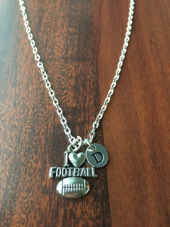 football initial necklace sports jewelry silver
