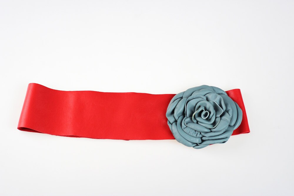 coral wide leather belt with light blue coral soft
