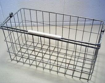 Vintage Wire Basket Freezer Basket Storage Basket Industrial Decor Shabby Decor